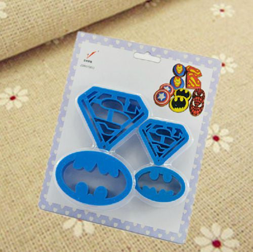 Batman and Superman plastic cookie cutters