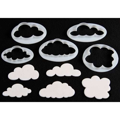 Plastic cookie cutter set cloud (5 per set)