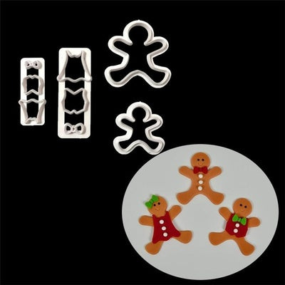 Christmas gingerbread man plastic multi cutter set, 7x6.5cm, 5.5x4.5cm
