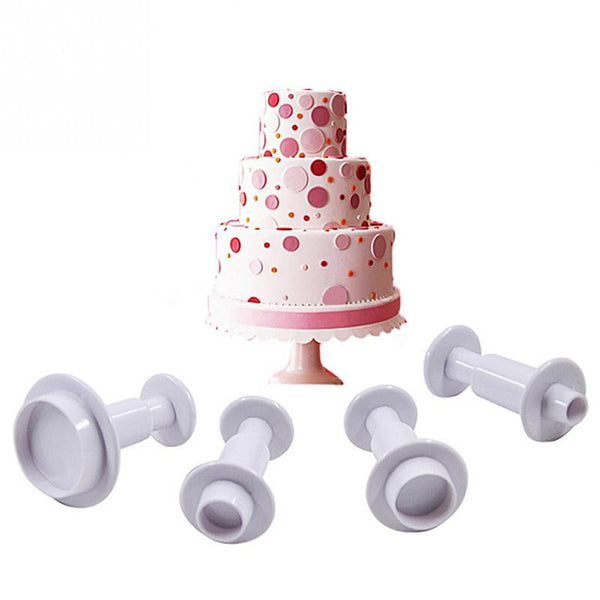 Small tiny Round Fondant plunger Cutter, 4 piece