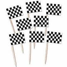 50 Cupcake toppers Racing flags toothpicks
