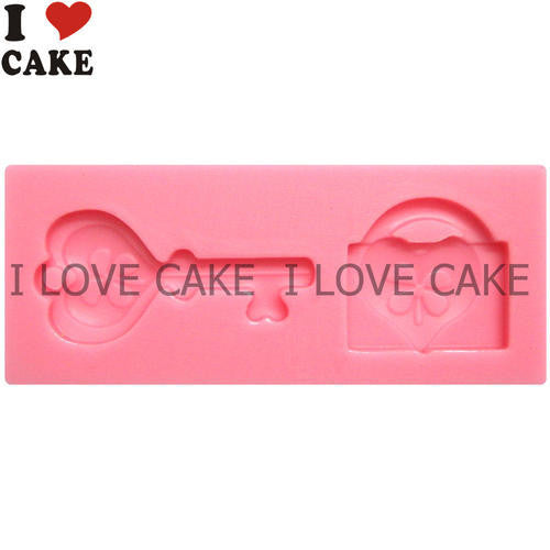 Heart lovers valentine silicone mould, for fondant, lock and key, size of mould 7.5x3cm