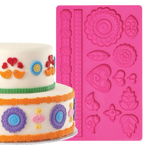 Silicone fondant / sugar paste mould flower border, birds, E
