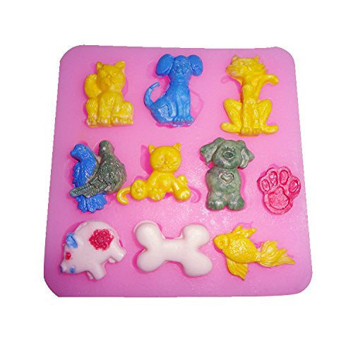 Silicone fondant cats and dogs mould, size of mould: 7.5x7.5cm