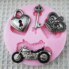 silicone Motorcycle fondant mold. Size of mold 3cm