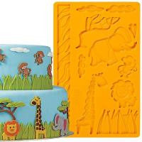 Silicone fondant / sugar paste mould, Jungle wild animals, mould size 18x12cm