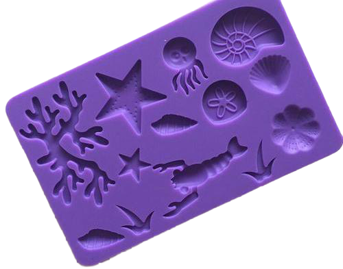 Silicone fondant / sugar paste mould under the sea/ shells, size of mould 19.5x12.5cm