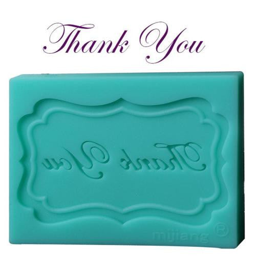 Thank you plaque silicone mould, for fondant, 6x4cm