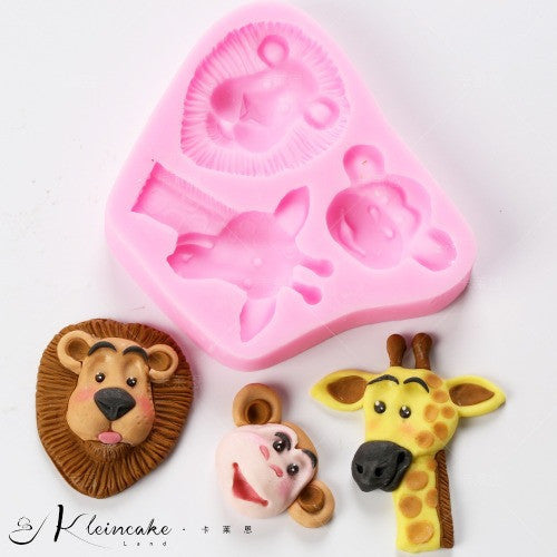 Silicone fondant mould Wild animals, Lion Monkey Giraffe, size of mould 9x8