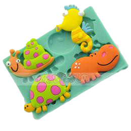 Animals silicone mould, snail hippo fondant, size of mould 12x8cm
