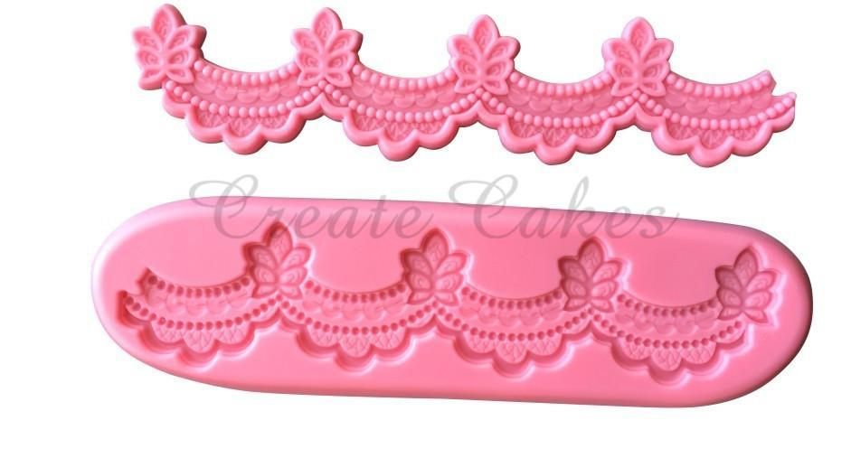 Silicone fondant flower border mould, size of mould 19x4.5cm-B
