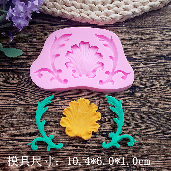 Shell flower and leaf silicone mould, size of shell 3.7x3.5cm