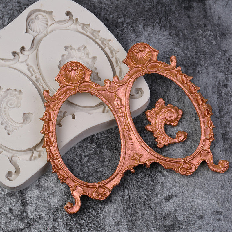 Double Vintage Frame Silicone mould, size of frame 12x10cm