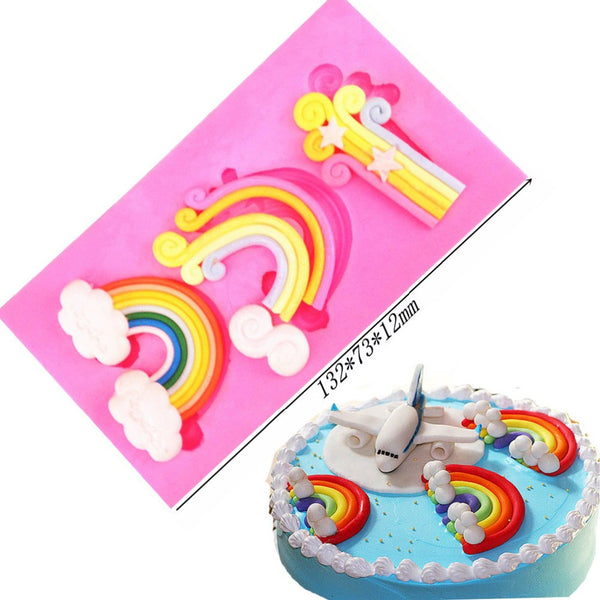 Rainbow cloud silicone mould, bottom rainbow 5x3.5cm