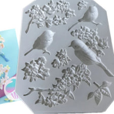 Birds and Flowers silicone mould, left bird 3.7x2cm