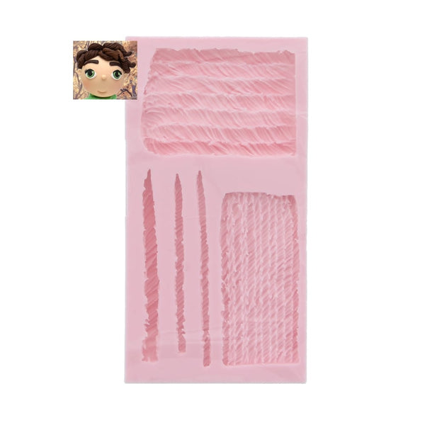 Figurine Hair silicone mould, size of mould 11.5x6cm