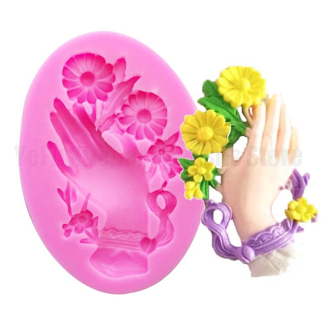 Flower hand silicone mould, 6x3.5cm