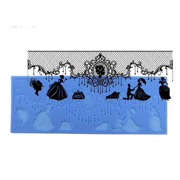 Wedding lace silicone mould, 29x8.5cm