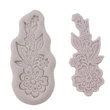 Lace Flower Border D silicone mould, 11.5x5cm