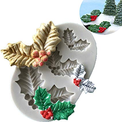 Christmas Holy leaf leaves silicone mould, 2.4x1.5cm, 3.3x2.3cm, 4.7x3cm
