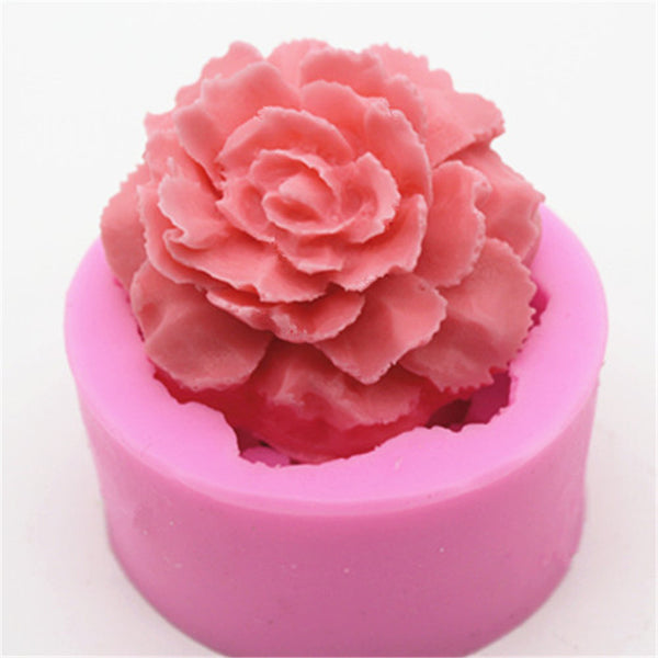 3D Cupcake Rose/Carnation flower silicone mould, 5.5cm