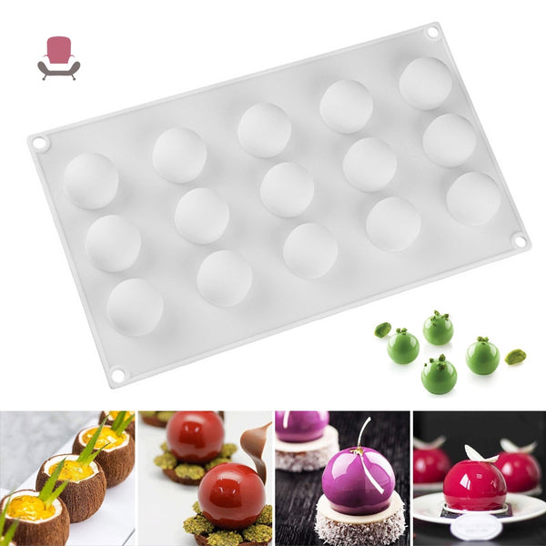 Silicone mould tray sphere 15 cup, mousse pudding, 3cm, 2.5cm deep