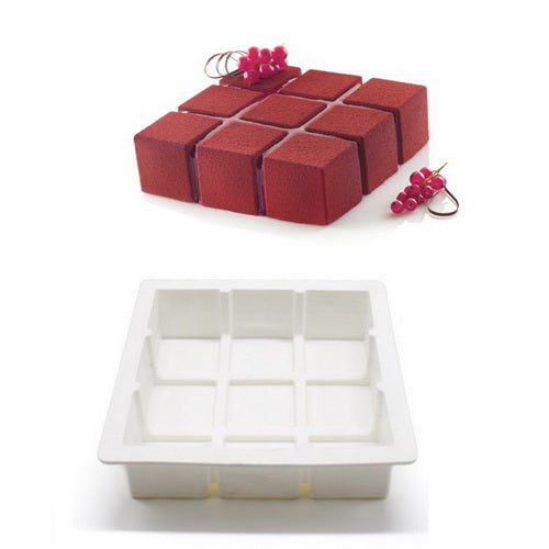 Silicone Cube Block Pattern silicone mousse mould, 17x17x5cm