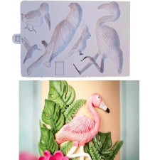 Exotic forest birds silicone mould, size of mould 20.5x12cm
