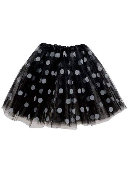 Adult lady tutu skirt - Black polka dot 40cm