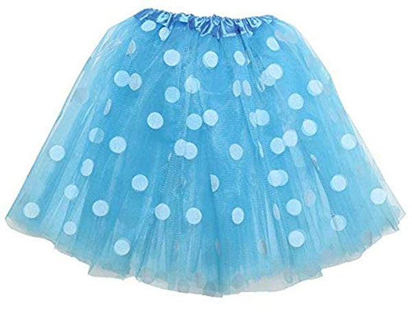 Adult lady tutu skirt - Blue polka dot 40cm