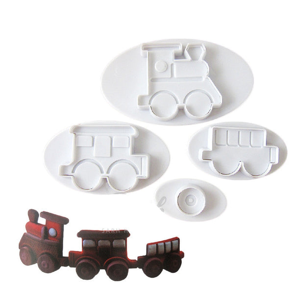 Train cupcake Fondant plunger Cutter, Train 4x3.5, Wheel 3.3cm