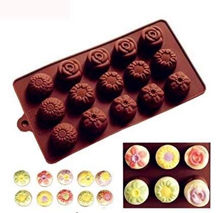 Chocolate truffle silicone mould flowers, F