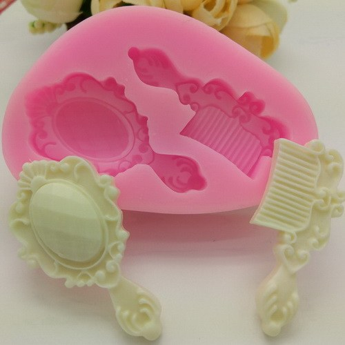 Vintage hairbrush and mirror silicone mould, mirror 4x2.2cm, brush 3.5x1.3cm