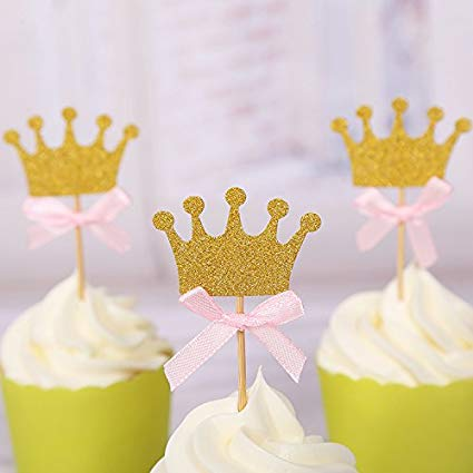 3 Crown cupcake topper toothpicks