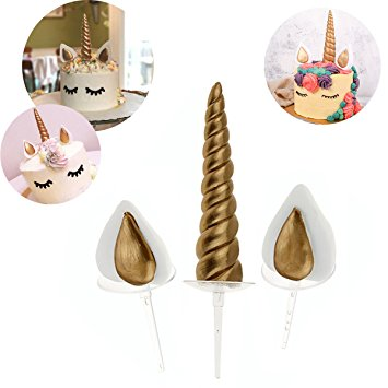 Unicorn horn and ears resin cake topper set, horn: 14x3cm, ears: 6x4.5cm