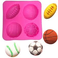 Rugby, basket, tennis, soccer silicone fondant Mould, size of mould 6x6cm