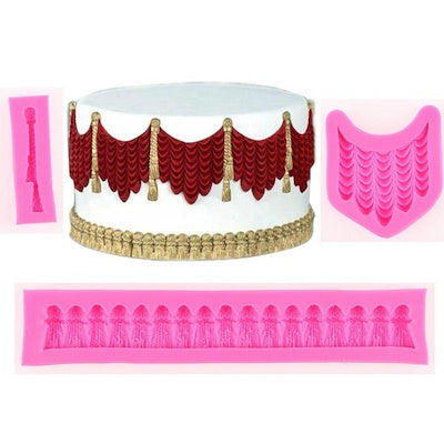 Drapes and tassels set silicone fondant mould-C