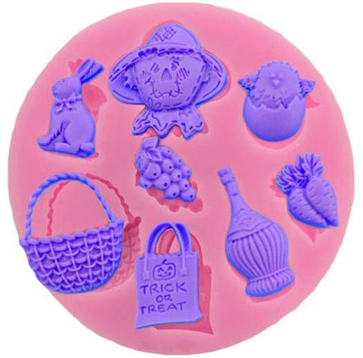 Easter garden silicone mould, basket 2.7x3cm, carrot 1.5x2.1cm