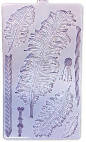 Large Feathers silicone mould, 16.5x5cm