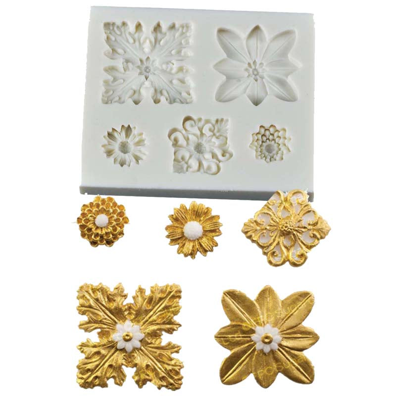 Various flower silicone mould, size of mould 9x7.5cm
