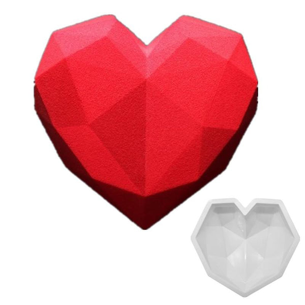 Large geode Geometric Heart Silicone mould tray, mousse pudding, 20x17.5x6cm