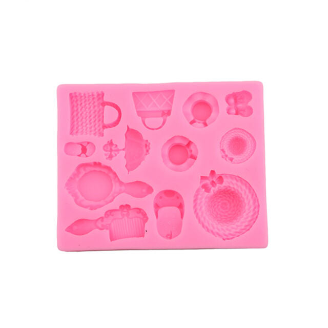 Silicone fondant / sugar paste mould girly comb, mirror, handbag