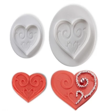Veined  valentine heart Fondant plunger Cutter set of 3