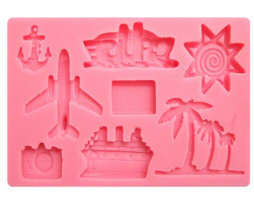 Holiday Travel silicone mould, for fondant, size of mould 10x6.5cm