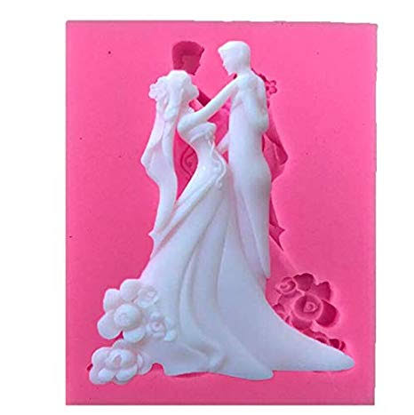 Wedding Couple silicone soft mould, 8.5x7cm, bride and groom