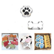 Dog bone and paw cookie cutter metal, 9x4.5cm and 7.5x7cm,l