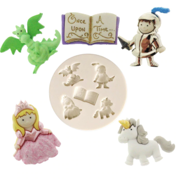 Fairy tale, Knight and Princess silicone mould, unicorn 2.5x2.1cm