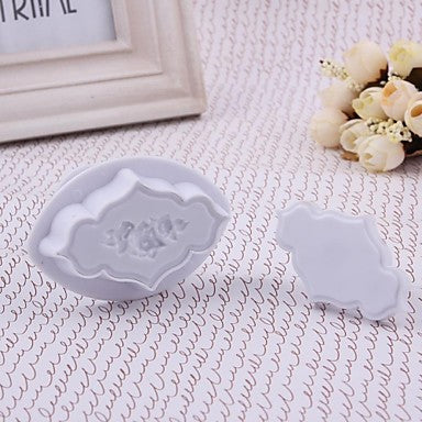 Fondant plaque rose frame patterned border plunger cutter, C