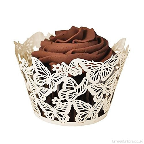 WHITE Lace Cupcake wrappers, 10 per pack, Butterfly