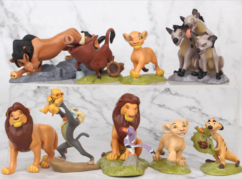 Lion King plastic figurine set, 9pcs, size +-5.5x5 to 10cm, perfect to use as cake toppers